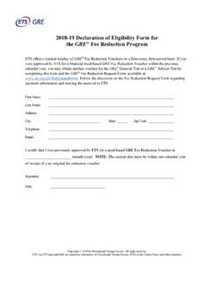 GRE Declaration of Eligibility Form for Fee …