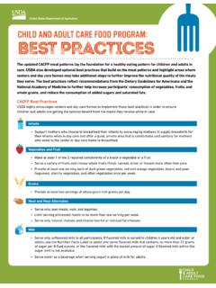 Child And Adult Care Food Program: Best Practices