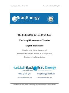 The Federal Oil & Gas Draft Law The Iraqi Government Version