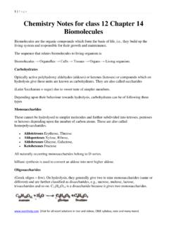Chemistry Notes for class 12 Chapter 14 Biomolecules