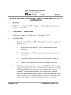 United States Department of Agriculture Directive