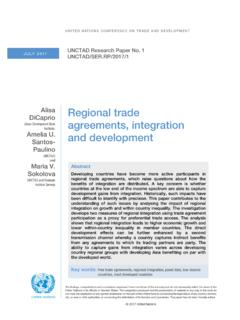 Regional trade agreements, integration and …