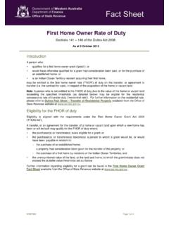First Home Owner Rate of Duty Fact Sheet