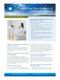Behavioural Sleep Problems in School Aged Children