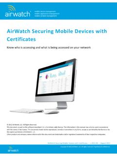 AirWatch Securing Mobile Devices with Certificates