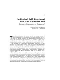 1 Individual Self, Relational Self, and Collective Self