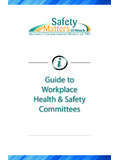 Guide to Workplace Health and Safety Committees
