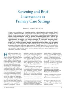 Screening and Brief Intervention in Primary Care Settings