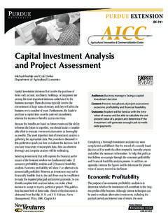 Capital Investment Analysis and Project Assessment EC-731