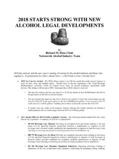 2018 STARTS STRONG WITH NEW ALCOHOL LEGAL …