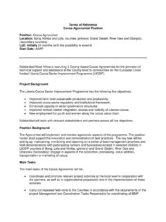 Terms of Reference Cocoa Agronomist Position