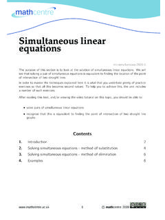 Simultaneous linear equations - Mathematics …