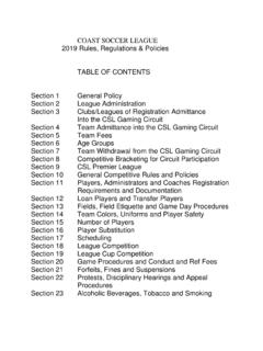 COAST SOCCER LEAGUE 2019 Rules, Regulations & Policies ...