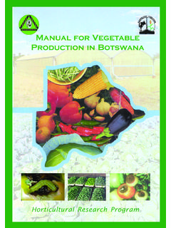 RESEARCH Manual for Vegetable Production in Botswana