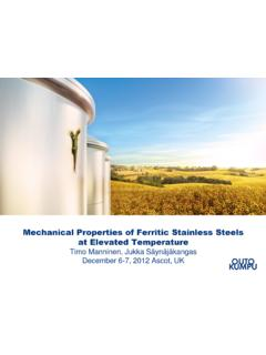 Mechanical Properties of Ferritic Stainless Steels at ...