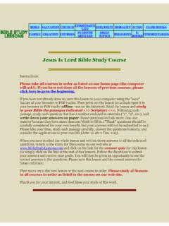 Jesus Is Lord Free Online Bible Study Course Lesson 2