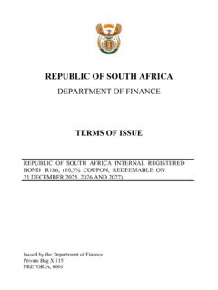 REPUBLIC OF SOUTH AFRICA - National Treasury