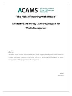 """The Risks of Banking with HNWIs"" - ACAMS"