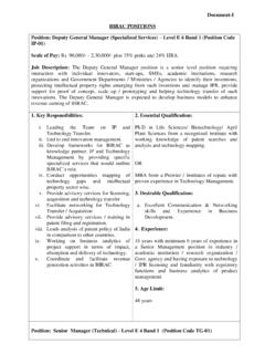 BIRAC POSITIONS Position: Deputy General Manager ...