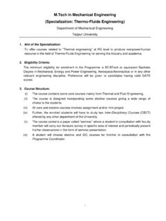 M.Tech in Mechanical Engineering (Specialization: Thermo ...