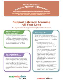 Support Literacy Learning All Year Long - ReadWriteThink
