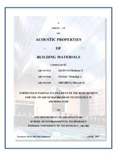 ACOUSTIC PROPERTIES OF BUILDING MATERIALS - …