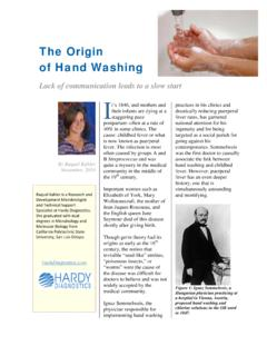 The Origin of Handwashing - Hardy Diagnostics