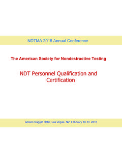 NDT Personnel Qualification and Certification - ndtma.org