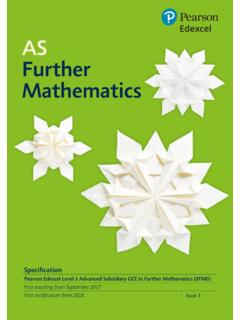 AS Further Mathematics - Pearson qualifications
