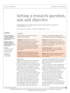 Setting a research question, aim and objective