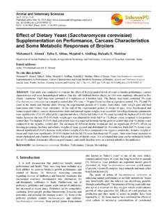 Effect of Dietary Yeast (Saccharomyces cerevisiae ...