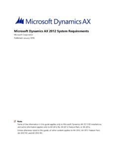 Microsoft Dynamics AX 2012 System Requirements