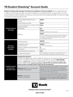 TD Student CheckingSM Account Guide - TD Bank, N.A.