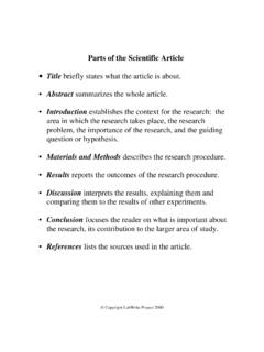 Parts of the Scientific Article - Nc State University