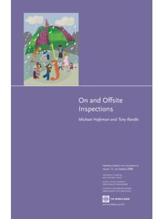On and Offsite Inspections - World Bank