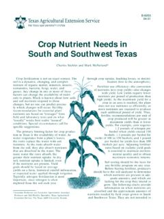 Crop Nutrient Needs in the South and Southwest …