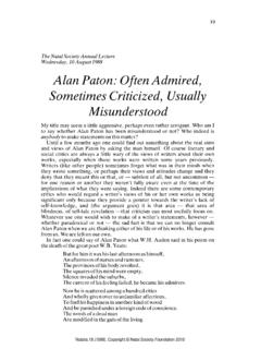 Alan Paton: Often Admired, Sometimes Criticized, Usually ...