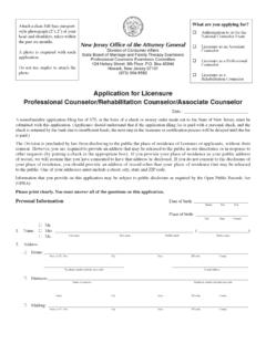 Application for Licensure Professional Counselor ...