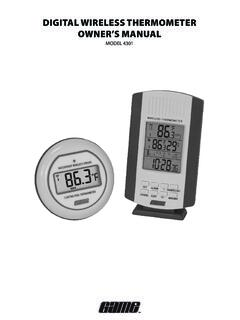 DIGITAL WIRELESS THERMOMETER OWNER'S MANUAL