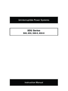 Uninterruptible Power Systems SDU Series