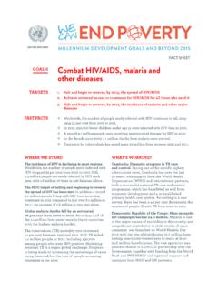 FACT SHEET GOAL 6 Combat HIV/AIDS, malaria and other …