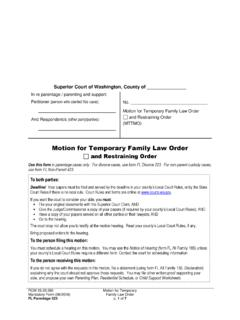 Motion for Temporary Family Law Order - Washington State