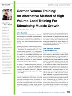 German Volume Training: An Alternative Method of High ...