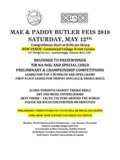 MAE & PADDY BUTLER FEIS 2018 SATURDAY, MAY 12TH