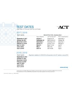 ACT Test Date Schedule National 2017-2018