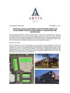 ARTIS REAL ESTATE INVESTMENT TRUST PROVIDES UPDATE …