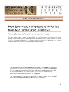 Food Security and Its Implications for Political Stability ...