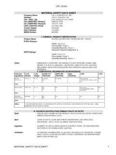 CRL Online MATERIAL SAFETY DATA SHEET C.R. …