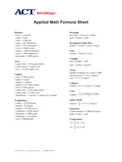 WorkKeys - Applied Math Formula Sheet - Home | …