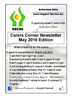 Carers Corner Newsletter May 2016 Edition - SSCSS